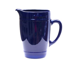 American Living Ironstone , Cobalt Blue , Ceramic Pitcher , Country Style Pitcher , Large Ceramic Pitcher