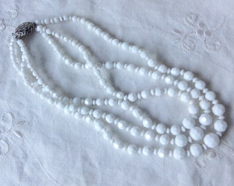 Vintage 50s 3 Strand Graduated milky glass beads Necklace with a Solid silver Filigree clasp