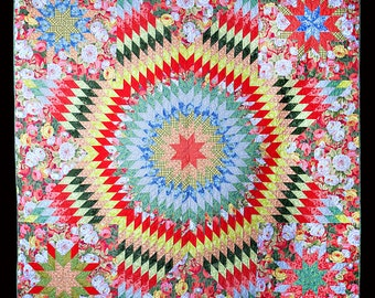 "Floral Lone Star Wall Hanging or Bed Quilt 81"" x 81"""