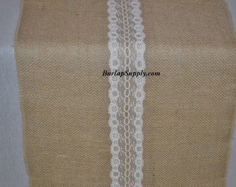 1016 Burlap Lace Table Runner 14 Inches Wide 108 Inches Long
