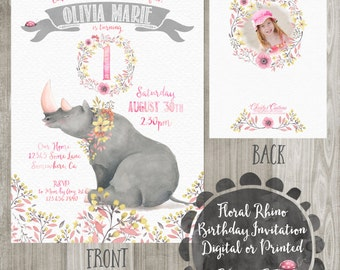 Floral Rhino Birthday Invitation with Photo, Digital or Printed