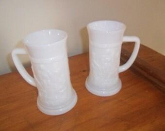Pair Milk Glass Beer Steins