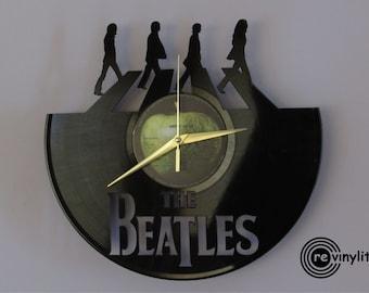 The beatles clock, Wall clock, John Lennon The Beatles, Abbey Road, beatles art, vinyl record clock, vinyl clock, mancave decor