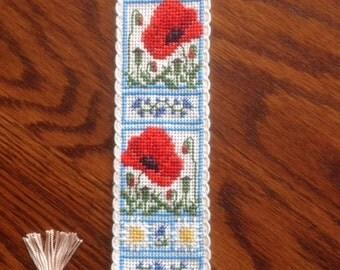 Cross stitch Poppy Bookmark