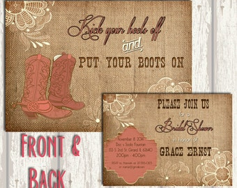 Cowboy Boot Bridal Shower Invitation -  Fully customizable!
