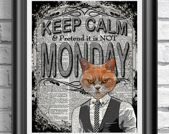 Grumpy cat print, Keep Calm decor on antique dictionary book page, Funny print, ginger cat poster art, mixed media wall hangings