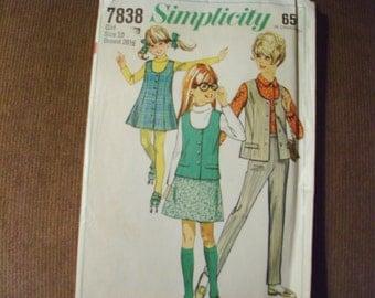 Simplicity Vintage (1968) Pattern 7838 Size 10