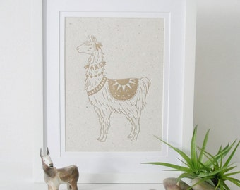 Letterpress Llama Print on Handmade Recycled Paper ... with Lama Poo!