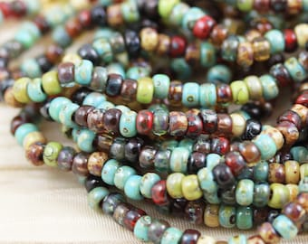8/0 Forest Lake Picasso Mega Mix Miyuki Seed Beads - 20grams - spectacular colors...