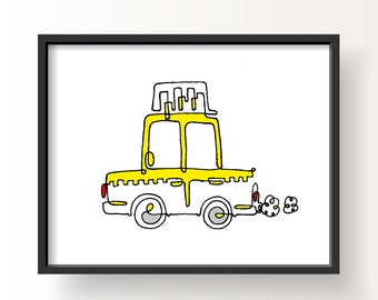 NYC Yellow Cab // White Illustration Art Poster, Wall Art, Digital Print, Digital Art, Home Decor, Design, Taxi