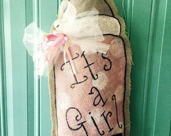 It's a Girl Burlap Door Hanger