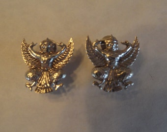 Sterling Garuda Earrings, Hindu Deity, Hindu God, Winged God, Vintage Earrings, Clip On, Vintage Indian Jewelry