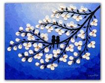 Love birds on tree Nightscape Art, Giclee print of Original Love birds painting, Signed birds Art print, Blue white Artwork 8x10 Bird art