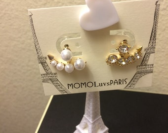 Gold tone pearl/crystal ear jackets sterling silver ear posts