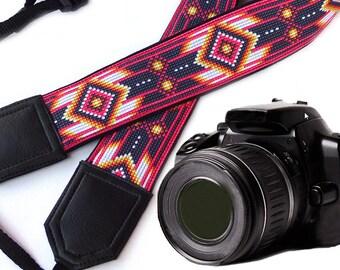 Camera strap inspired by Native American. Southwestern Ethnic Camera strap.  Bright DSLR / SLR Camera Strap. Gift ideas by InTePro, 00190