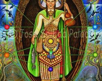 Archangel Raphael 11x14print on canvas by Jose SolEda