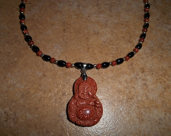 Hotai Buddha Goldstone & Black Agate Necklace