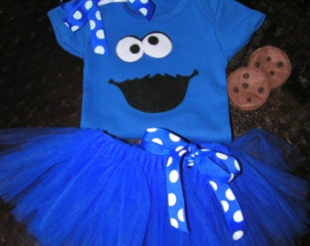Baby Cookie Monster Costume with body suit, tutu and hairbow
