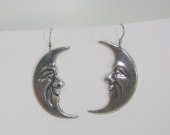 Silver Plated Large Moon Earrings