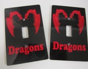 2 light switch covers, dragons design