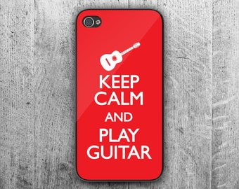 Keep Calm and play GUITAR phone case. Case For - iPhone 4/4S - iPhone 5/5S - iPhone 5C - iPhone 6 - iPhone 6 Plus. Novelty. Gift.