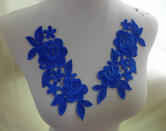 One pair - royal blue lace applique for bridal, lace jewelry, sashes, costumes, sewing
