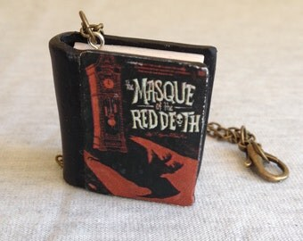 The Masque of the Red Death polymer clay book charm necklace