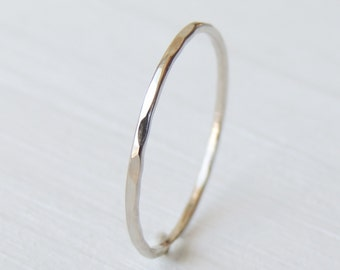 White Gold Ring, Recycled Gold Ring, 14k White Gold, Stack Ring, Delicate Gold Ring, Hammered Gold Ring, Fine Jewelry, Stacking Ring