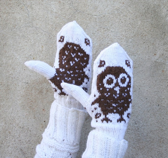 Knit wool mittens,  hand knit gloves, kids owl hooty mittens, children cute owl pattern gloves, patterned arm warmers, winter arm warmers