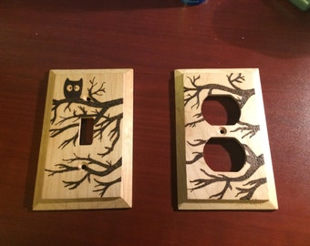 Woodburned Owl and tree light switch cover and outlet cover