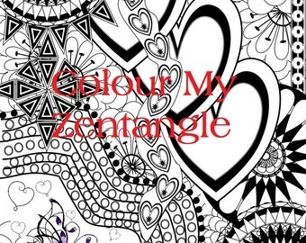 Digital Download -  Butterfly Hearts Zentangle inspired - A4 sized Colouring Page