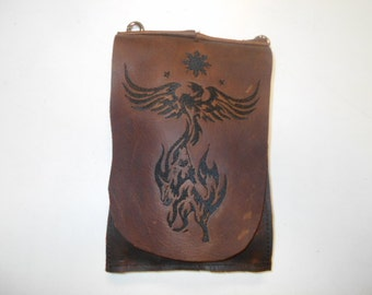 Brown Leather Hip Bag, leather hip bag, long hip bag, brown leather bag, phoenix embroidery, wolf embroidery, leather biker bag, distressed
