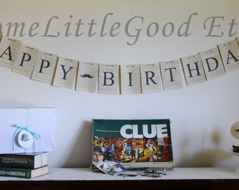 "COMBO Hercule Poirot Paper Birthday Banner and ""Mon Ami"" Party Banner"