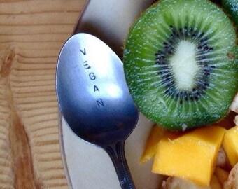 """Hand Stamped Metal Teaspoon - """"vegan"""" - recycled spoon"""