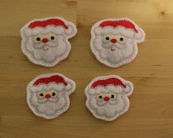 Santa Felt Snap Embroidered Hair Clips