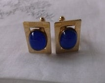 Vintage Anson Cuff Links with Bright Blue Stones, Gorgeous Art Deco Style Cuff Links Gold plated, Great Quality