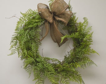 No. 40512 Front Door Wreath , Woodland Wreath - Fern Wreath - Front Door Wreath - Wreath and Centerpiece. With Brown Burlap Ribbon.