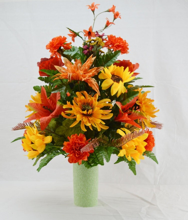 No fall cemetery arrangement autumn cone by