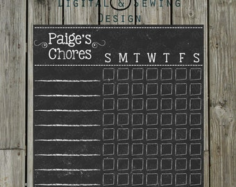 Chalkboard Kids Chore Chart/list cleaning list 8x10 Fully customizable PRINTABLE DIGITAL FILE