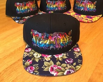 NECTAR snapback Bassnectar hat, Purple Floral brim