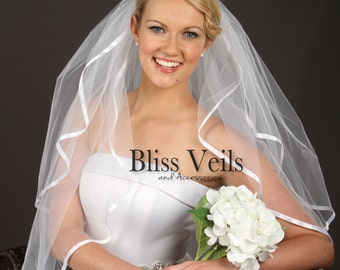 Ribbon Veil, Veil with Blusher, Waist Length Veil, 2 Tier Veil, Ivory Wedding Veil, Diamond White Veil, Available in any length!