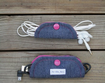 Ear buds & charger holders - Denim