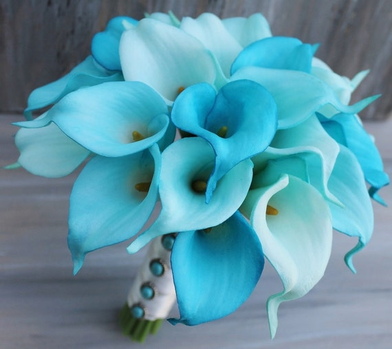 wedding bouquet turquoise calla lilly bouquet bridal bouquet. Black Bedroom Furniture Sets. Home Design Ideas