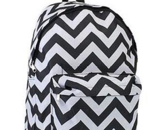 Chevron Black/White  Backpack FREE monogram