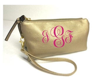 Monogrammed Gold 3n1 Fashion crossbody/wristlet/clutch