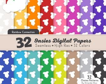 32 Professional Bright Onsies Digital Papers - Onsies Patterns, Seamless Onsies Pattern, Onsies Digital Papers, Vector Onsie Patterns