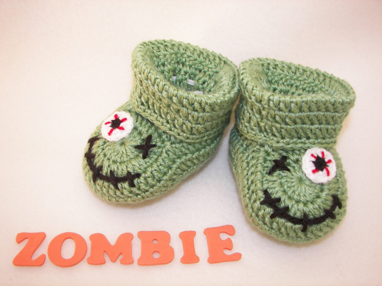 Crochet Zombie Patterns : Crochet Pattern Baby Booties Zombie Monster. Halloween