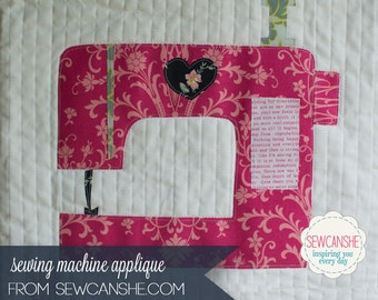 Love Sewing Machine Applique Pattern - 3 sizes included w/reverse