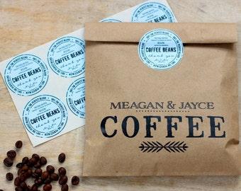 "Personalized ""Coffee Beans"" Favor Bag Sticker Seals. Wedding Favor Bag accessory. Coffee Bag"