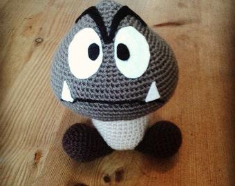 Handmade crocheted Goomba plush